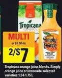 Tropicana Orange Juice.blends - Simply Orange Juice Or Lemonade - 1.54-1.75 L