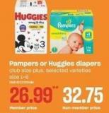 Pampers Or Huggies Diapers Size 1-6