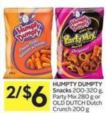 Humpty Dumpty Snacks 200-320 g - Party Mix 280 g or Old Dutch Dutch Crunch 200 g