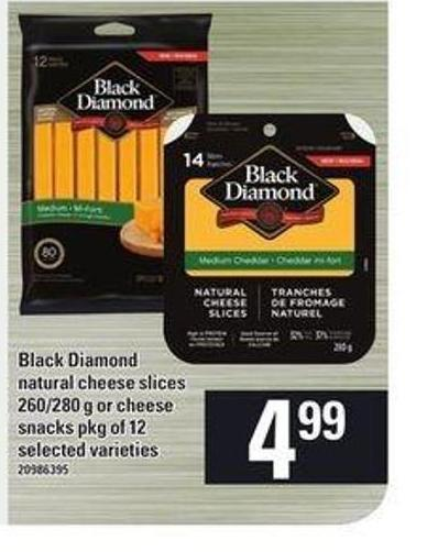 Black Diamond Natural Cheese Slices 260/280 G Or Cheese Snacks Pkg Of 12