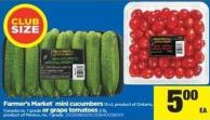 Farmer's Market Mini Cucumbers - 15 Ct Or Grape Tomatoes - 2 Lb