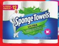 Selected Sponge Towels Ultra Paper Towels 6=12 Rolls - Scotties Facial Tissues 100s 15-pk or Cottonelle Wipes 4 X 42-ct Pack