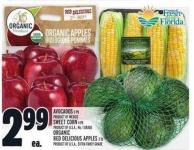 Avocados Or Sweet Corn Or Organic Red Delicious Apples