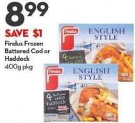 Findus Frozen  Battered Cod or  Haddock 400g Pkg