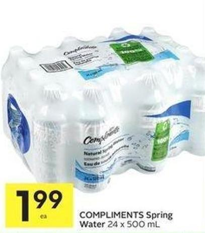 Compliments Spring Water 24 X 500 mL