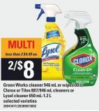 Green Works Cleaner 946 Ml Or Wipes 30's - Clorox Or Tilex 887/946 Ml Cleaners Or Lysol Cleaner 650 Ml-1.2 L
