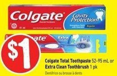Colgate Total Toothpaste 52-95 mL or Extra Clean Toothbrush 1 Pk
