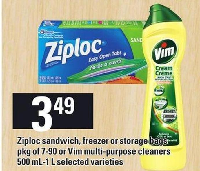 Ziploc Sandwich - Freezer Or Storage Bags Pkg Of 7-90 Or Vim Multi-purpose Cleaners 500 Ml-