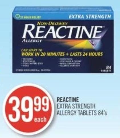 Reactine Extra Strength Allergy Tablets 84's