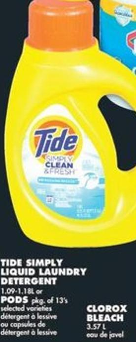 Tide Simply Liquid Laundry Detergent - 1.09-1.18l or PODS - Pkg of 13's