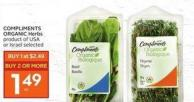 Compliments Organic Herbs Product of USA or Israel Selected