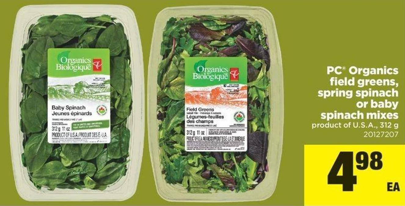 PC Organics Field Greens - Spring Spinach Or Baby Spinach Mixes - 312 g