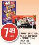 Carnaby Sweet Mega Mix (1kg) - Maynards or Cadbury (45's) Snack Size