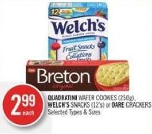 Quadratini Wafer Cookies (250g) - Welch's Snacks (12's) or Dare Crackers
