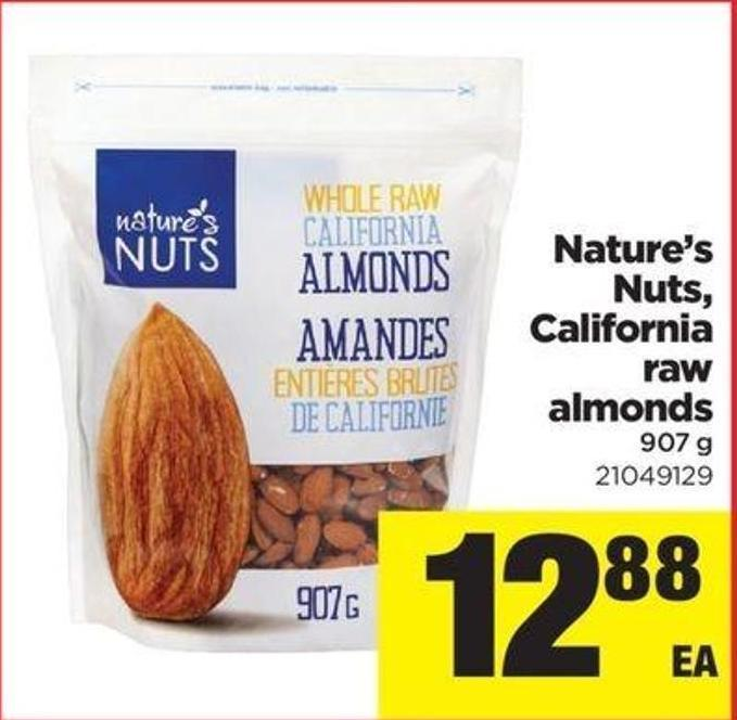 Nature's Nuts - California Raw Almonds - 907 G