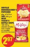 Orville Redenbacher's Popcorn - Pkg of 6/8 or Jar - 850 g or Miss Vickie's Kettle Chips - 180-220 g