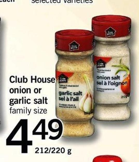 Club House Onion Or Garlic Salt - 212/220 G