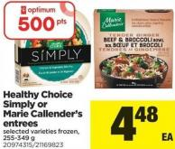 Healthy Choice Simply Or Marie Callender's Entrées - 255-349 g