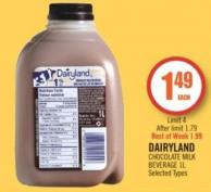 Dairyland Chocolate Milk Beverage 1 L