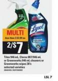 Tilex 946 Ml - Clorox 887/946 Ml Or Greenworks 946 Ml Cleaners Or Greenworks Wipes 30's