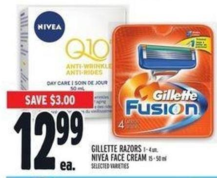 Gillette Razors 1 - 4 Un. - Nivea Face Cream 15 - 50 ml