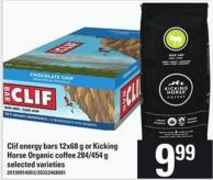Clif Energy Bars - 12x68 G Or Kicking Horse Organic Coffee - 284/454 G