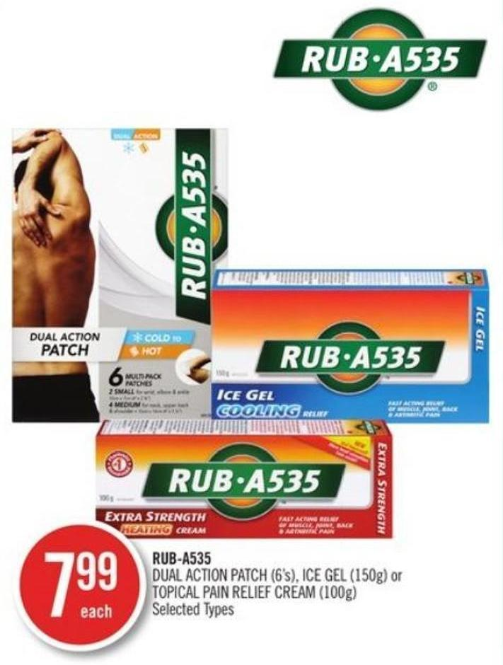 Rub-a535 Dual Action Patch (6's) - Ice Gel (150g) or Topical Pain Relief Cream (100g)