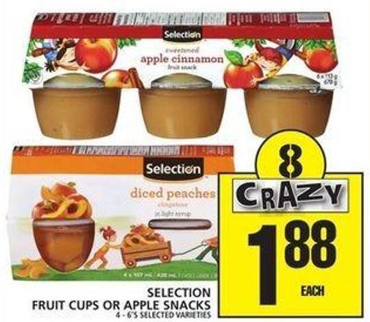 Selection Fruit Cups Or Apple Snacks