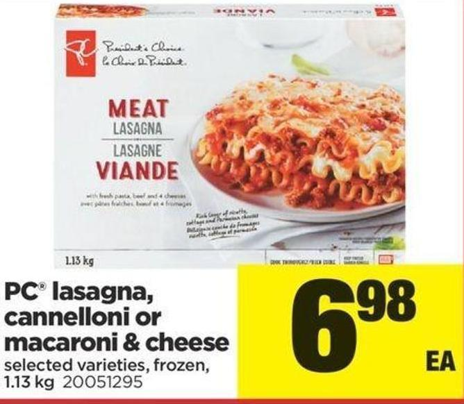 PC Lasagna - Cannelloni Or Macaroni & Cheese