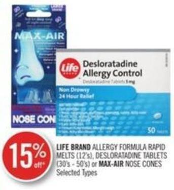 Life Brand Allergy Formula Rapid Melts ((12's) - Desloratadine Tablets (30's - 50's) or Max-air Nose Cones