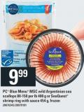 PC Blue Menu Msc Wild Argentinian Sea Scallops 80-150 Per Lb 400 G Or Seaquest Shrimp Ring With Sauce 454 G