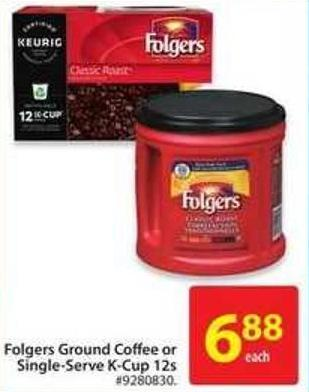 Folgers Ground Coffee or Single-serve K-cup 12s