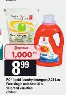 PC Liquid Laundry Detergent 2.21 L Or Free Single Unit Dose 31's