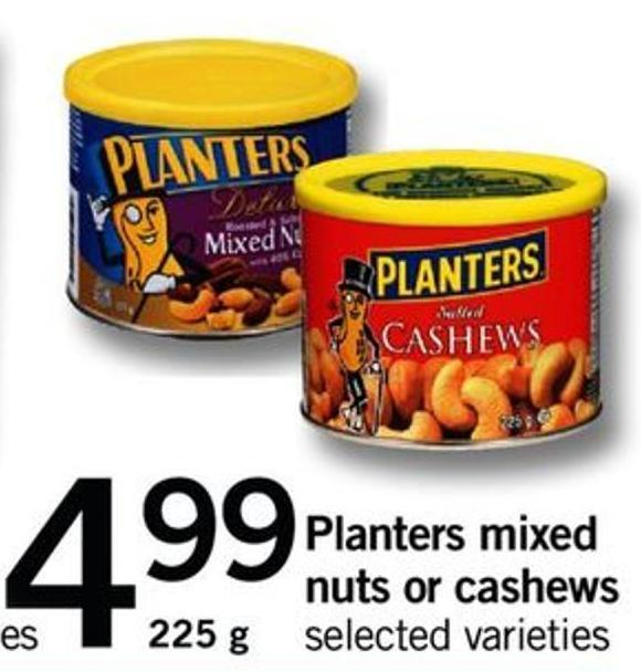 Planters Mixed Nuts Or Cashews - 225 G