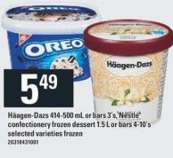 Häagen-dazs 414-500 Ml Or Bars 3's - Nestlé Confectionery Frozen Dessert 1.5 L Or Bars 4-10's