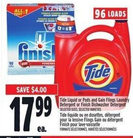 Tide Liquid Or Pods And Gain Flings Laundry Detergent Or Finish Dishwasher Detergent