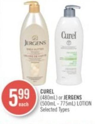 Curel (480ml) or Jergens (500ml - 775ml) Lotion