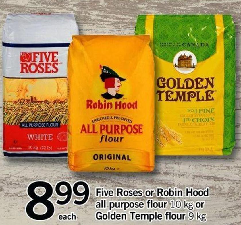 Five Roses Or Robin Hood All Purpose Flour - 10 Kg Or Golden Temple Flour - 9 Kg