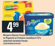 Breyers Classic Frozen Dessert - 1.66/1.89 L Or Popsicle Or Fruttare Novelties - 4-12's