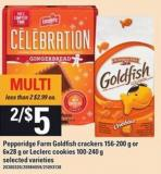 Pepperidge Farm Goldfish Crackers - 156-200 G Or 6x28 G Or Leclerc Cookies - 100-240 G