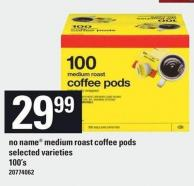 No Name Medium Roast Coffee PODS - 100's