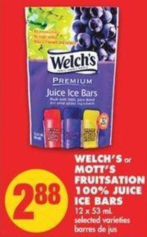 Welch's Or Mott's Fruitsation 100% Juice Ice Bars - 12 X 53 Ml