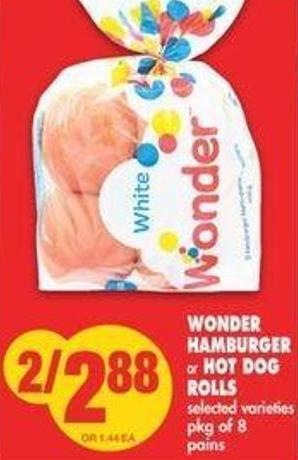 Wonder Hamburger Or Hot Dog Rolls - Pkg Of 8