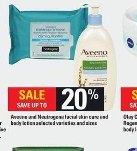 Aveeno And Neutrogena Facial Skin Care And Body Lotion