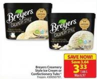 Breyers Creamery Style Ice Cream or Confectionery Tubs
