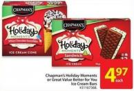 Chapman's Holiday Moments or Great Value Better For You Ice Cream Bars