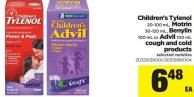 Children's Tylenol - 20-100 Ml - Motrin - 30-120 Ml - Benylin 100 Ml Or Advil - 100 Ml Cough And Cold Products
