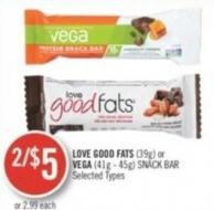 Love Good Fats (39g) or Vega (41g-45g) Snack Bar