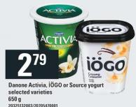 Danone Activia - Iögo Or Source Yogurt - 650 g