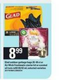 Glad Outdoor Garbage Bags 20-40 Ct Or Air Wick Freshmatic Starter Kit Or Scented Oil Twin Refill 40/42 Ml